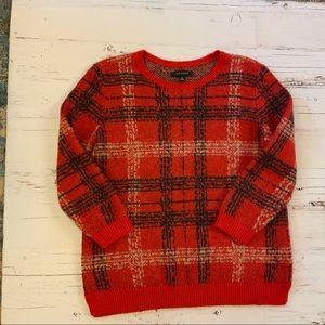 Ann Taylor 3/4  sleeve plaid sweater M